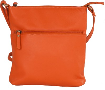 LeCobbs Women Casual Orange Genuine Leather Sling Bag