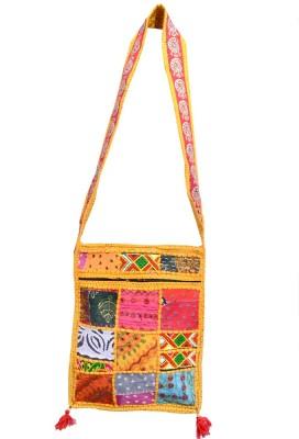 Ruff Girls, Women Multicolor, Yellow Cotton Sling Bag