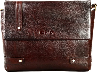 Scharf Men Casual Brown Genuine Leather Sling Bag