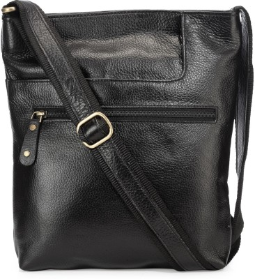 Teakwood Men Black Genuine Leather Sling Bag