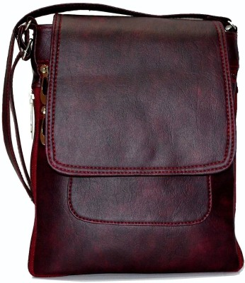 Zircons Girls Maroon PU Sling Bag