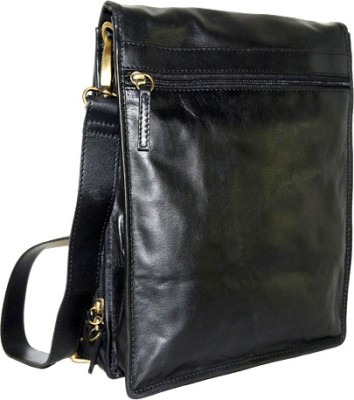 Imperus Boys, Girls Casual Black Genuine Leather, Cotton Sling Bag