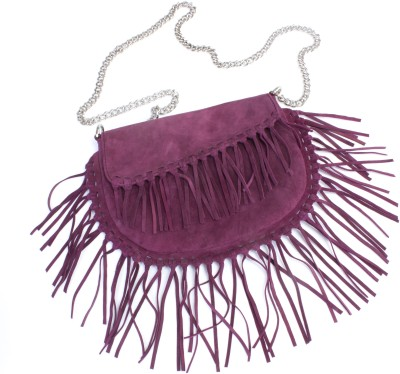 Tee Ess Girls, Women Evening/Party, Casual Maroon Genuine Leather Sling Bag