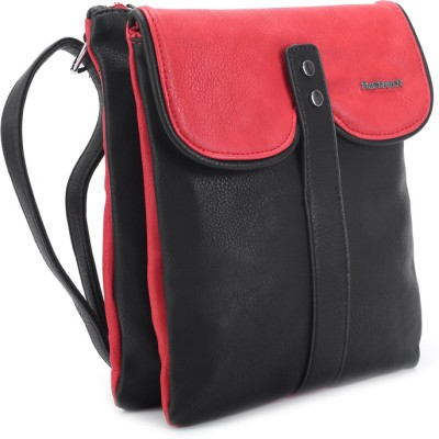 Fastrack Women Casual Black, Red PU Sling Bag