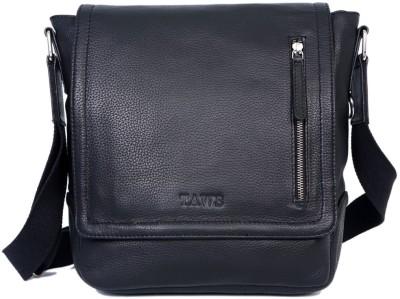 Taws Men Casual Black Genuine Leather Sling Bag