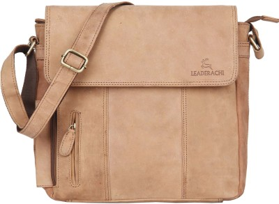 Leaderachi Boys, Girls, Men, Women Casual, Formal, Sports Brown Genuine Leather Sling Bag