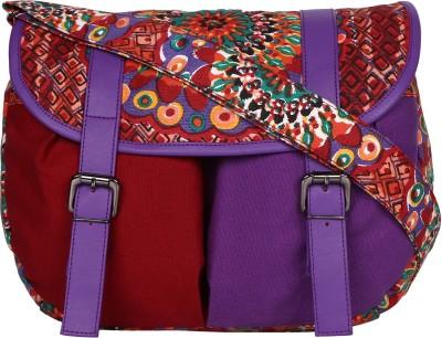 Anekaant Women Purple, Multicolor Canvas, PU Sling Bag