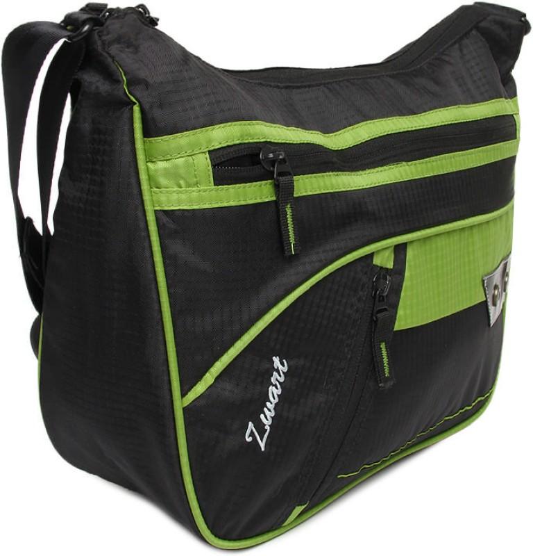 Zwart Men Casual Black, Green Polyester Sling Bag 314104