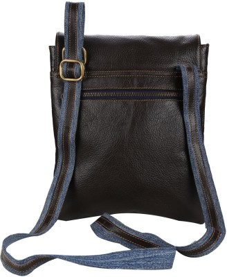 Hibiscus Women Casual Brown Genuine Leather Sling Bag