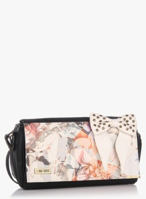 3 Mad Chicks Girls Black, White PU Sling Bag