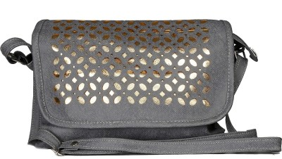 Tripssy Women, Girls Grey Leatherette Sling Bag