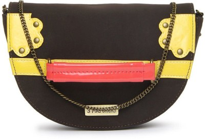 3 Mad Chicks Girls Brown, Red, Yellow PU Sling Bag