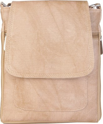 SkyWays Men, Women, Boys, Girls Khaki Leatherette Messenger Bag
