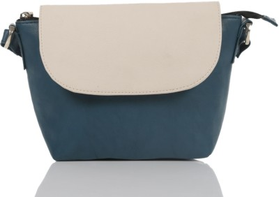 Ebry Girls Blue Genuine Leather Sling Bag