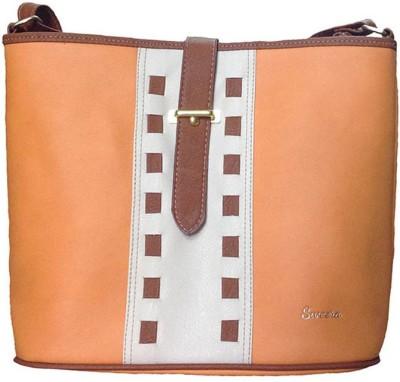 Sweera Women Orange PU Sling Bag