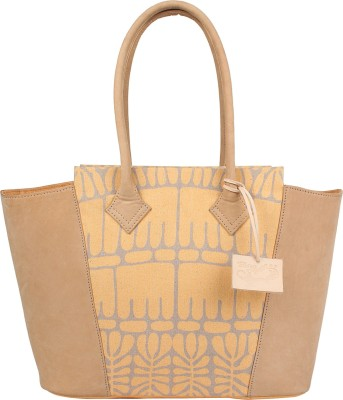 Rub & Style Women Beige Genuine Leather Tote