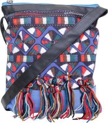 Jademist Women Blue Cotton Sling Bag