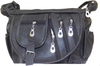 JTM Trading Girls, Women Black PU Sling Bag