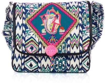 Shaun Design Women, Girls Blue, White Canvas Sling Bag