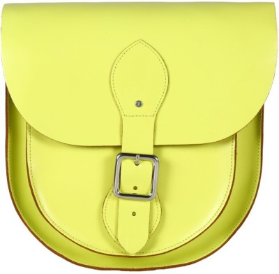Viari Women Casual Yellow Genuine Leather Sling Bag