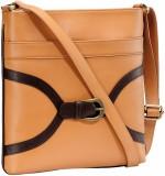 Contrast Women Tan, Brown PU Sling Bag