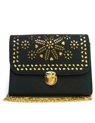 Fashion Knockout Girls, Women Black Leatherette Sling Bag