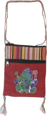 HR Handicrafts Girls Red Canvas Sling Bag