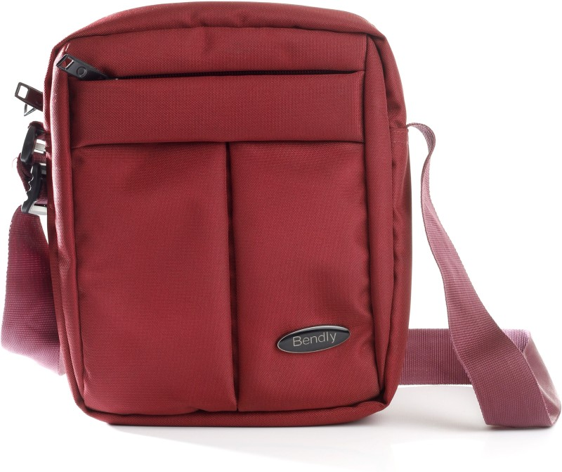 Bendly Men Casual Red Nylon Sling Bag