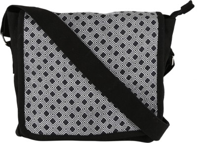 Needlecrest Girls Casual Black, Grey Canvas Sling Bag