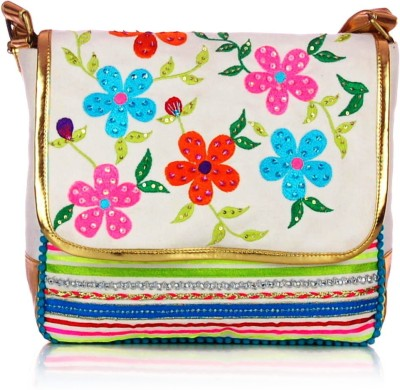 Shaun Design Women, Girls White Canvas Sling Bag