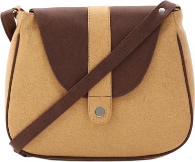 Felicita Girls, Women Beige, Brown PU Sling Bag