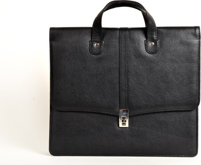 Just Differ Men Black Genuine Leather Satchel