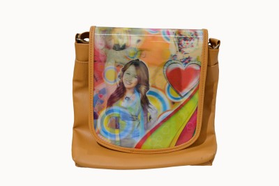 Vedic Deals Girls Casual Yellow Leatherette Sling Bag