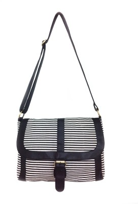 Carry on Bags Girls Casual Black Canvas, PU Sling Bag
