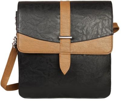 Louise Belgium Girls Black Leatherette Sling Bag