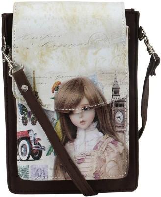 Coash Women Brown PU Messenger Bag