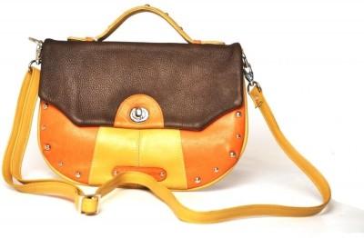 Dhruva Women Casual Orange Genuine Leather Sling Bag