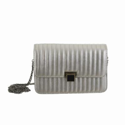 Peaubella Women Formal Silver PU Sling Bag
