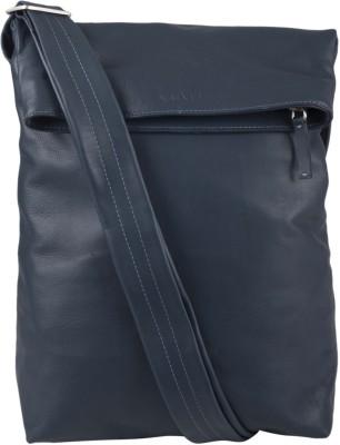 Viari Men Casual Blue Genuine Leather Sling Bag