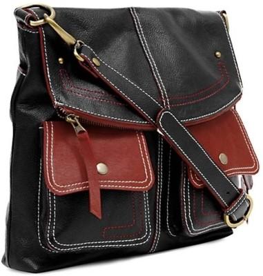 Fume Men, Women Casual Black, Red Genuine Leather Sling Bag