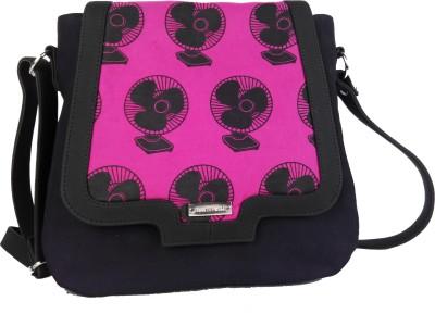 Haute Potli Girls Casual Pink, Black Cotton, Canvas, PU Sling Bag