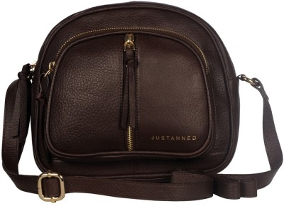JUSTANNED Women Brown Genuine Leather Sling Bag