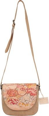 Rub & Style Women Beige Genuine Leather Sling Bag