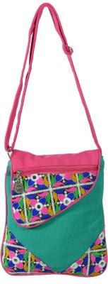 Jsart Girls Green Canvas Sling Bag