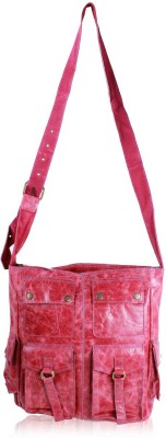 R&F Designs Women Casual Pink Genuine Leather Sling Bag