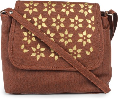 Star Style Women Casual Brown Leatherette Sling Bag
