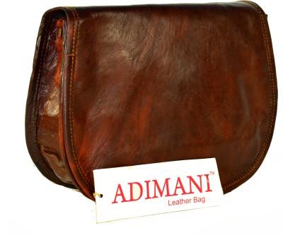 Adimani Women Brown Genuine Leather Sling Bag