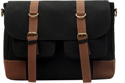 Purseus Men Casual Black Canvas Sling Bag
