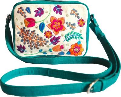 Dhruva Girls Green Canvas Sling Bag