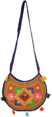 Rajkruti Women Blue, Multicolor Cotton Sling Bag